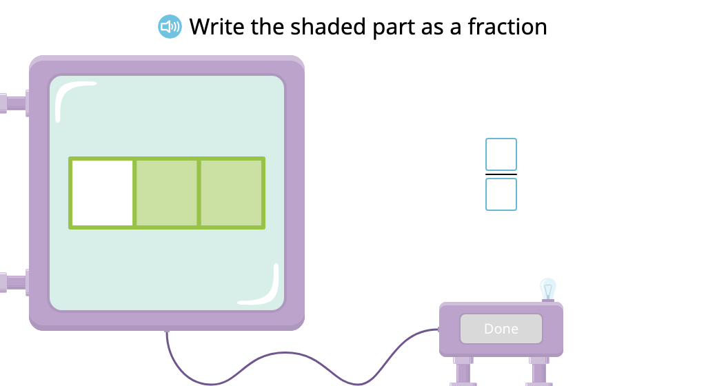 Write a fraction to identify the shaded part of a figure (Level 2)