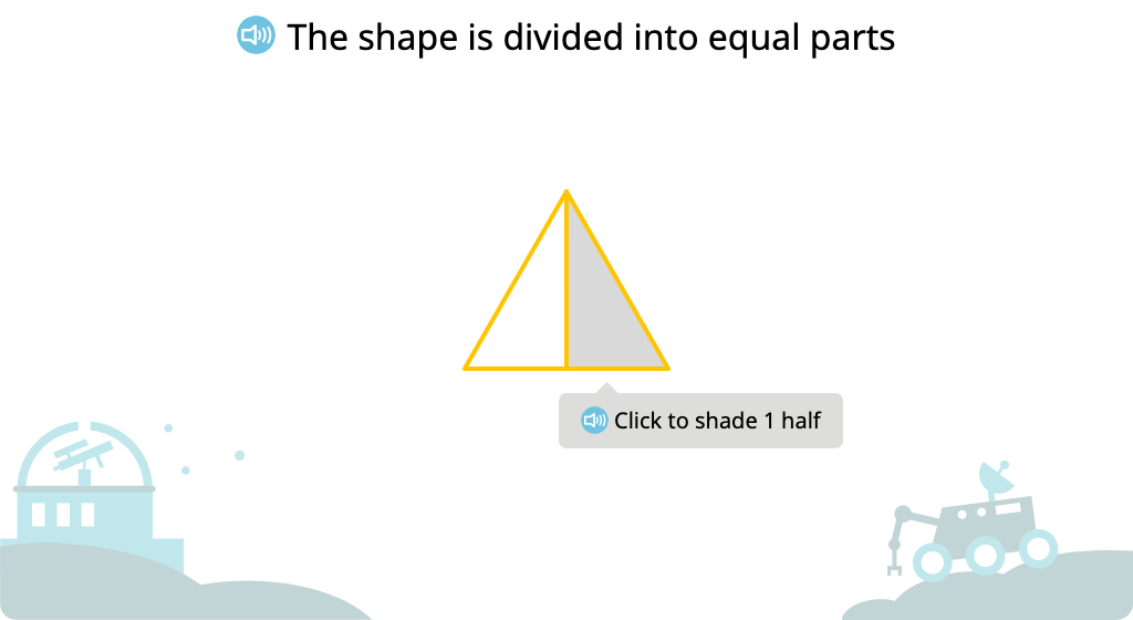 Label shaded and unshaded parts of a figure (Level 1)