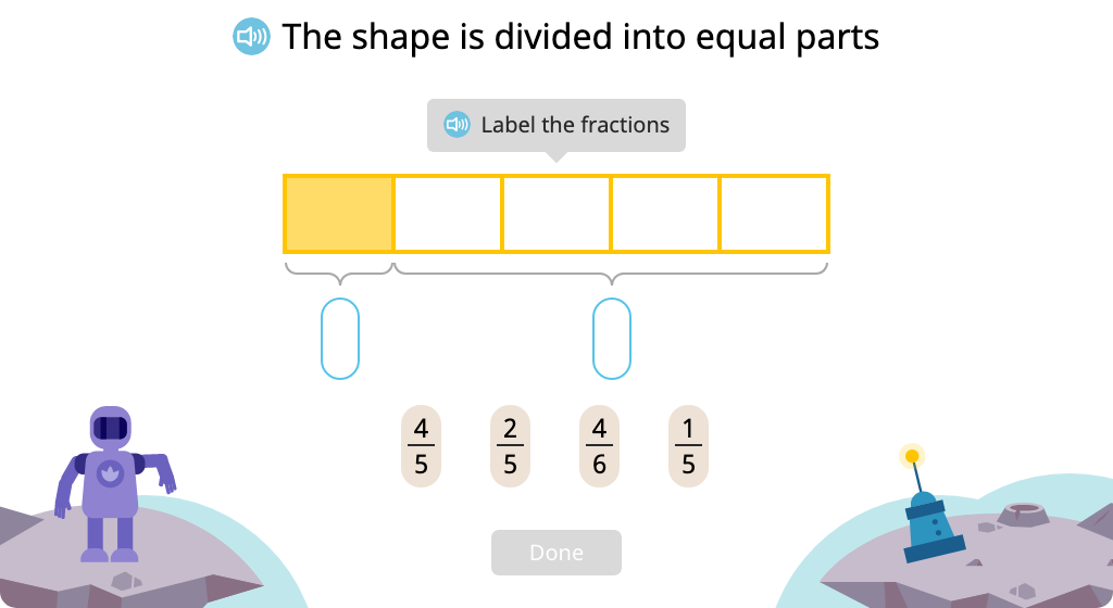 Label shaded and unshaded parts of a figure (Level 2)