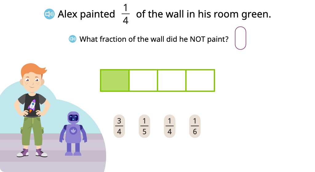 Solve word problems involving complementary fractions