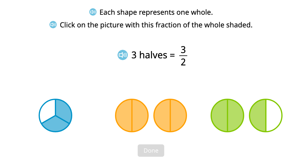 Identify a set of figures whose shading represents an improper fraction
