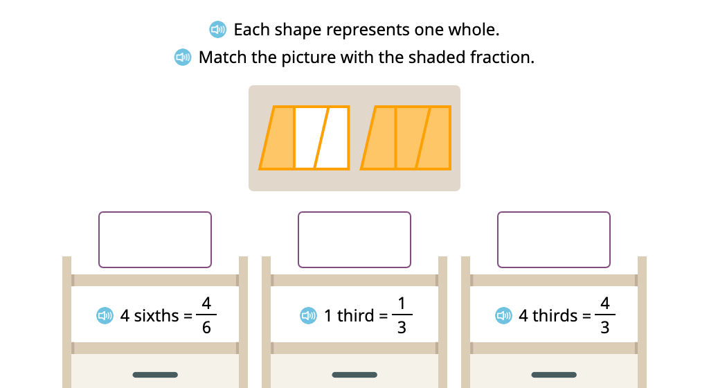 Label a set of figures whose shading represents an improper fraction