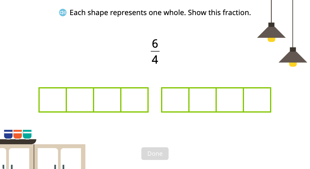 Divide and shade a set of figures to represent an improper fraction
