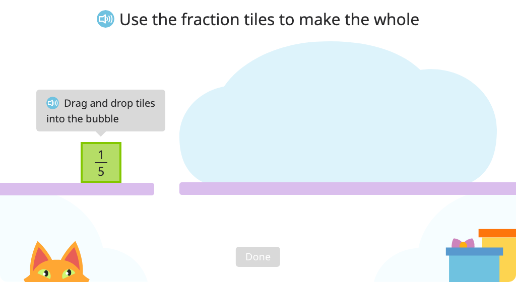Build a whole using the correct number of unit fraction tiles
