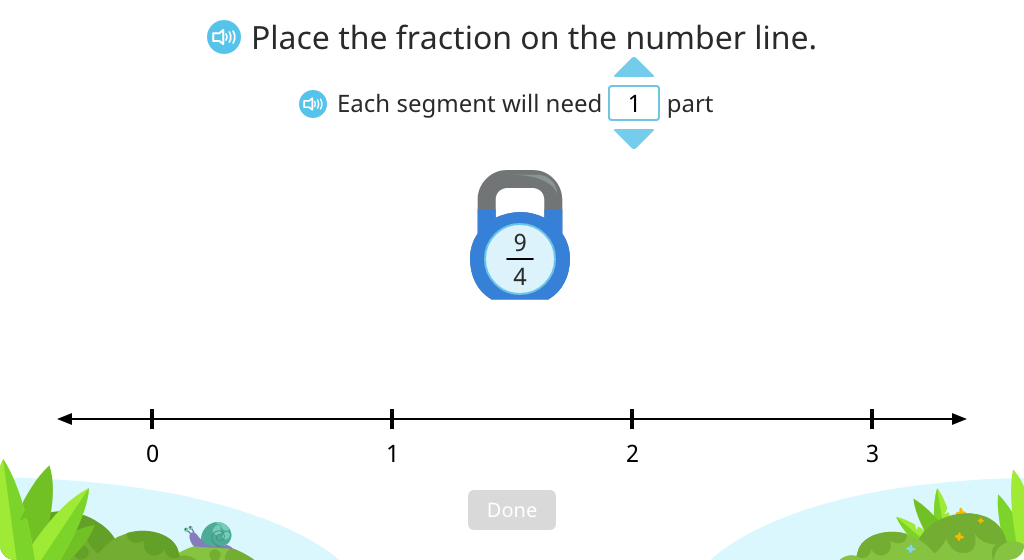 Segment a number line into fractions and place a given fraction (greater than 1) on the number line