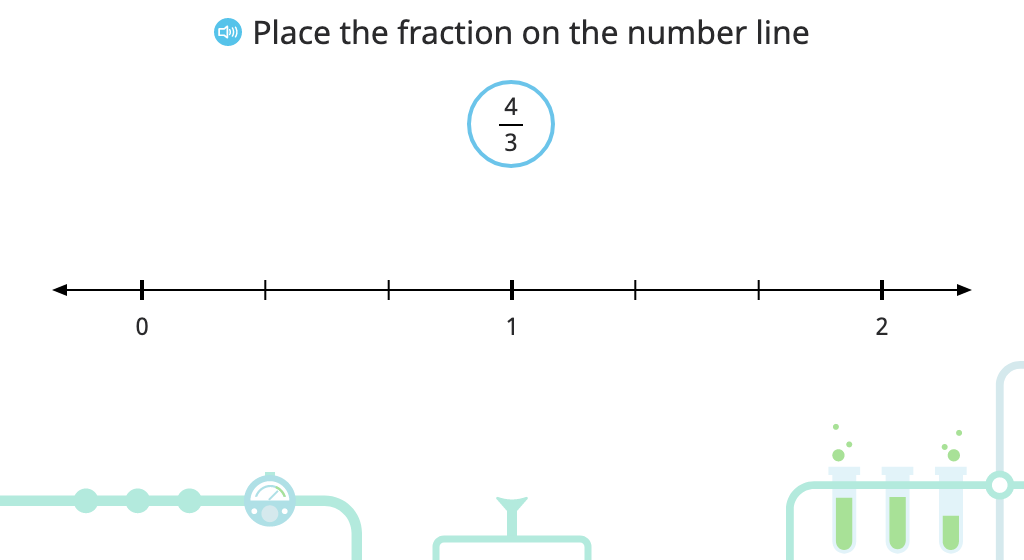 Identify equivalent fractions using the number line (greater than 1)