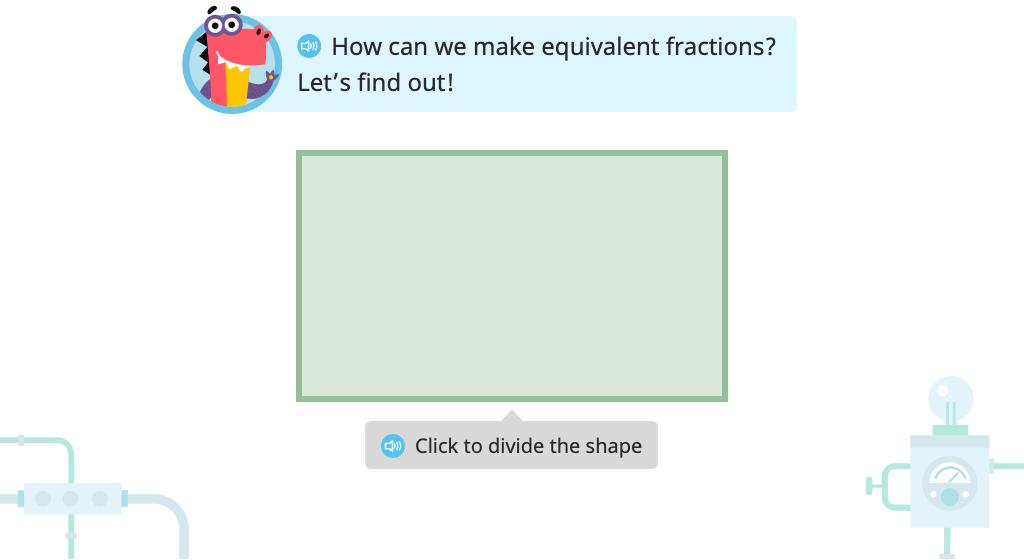 Label two equivalent fractions based on models