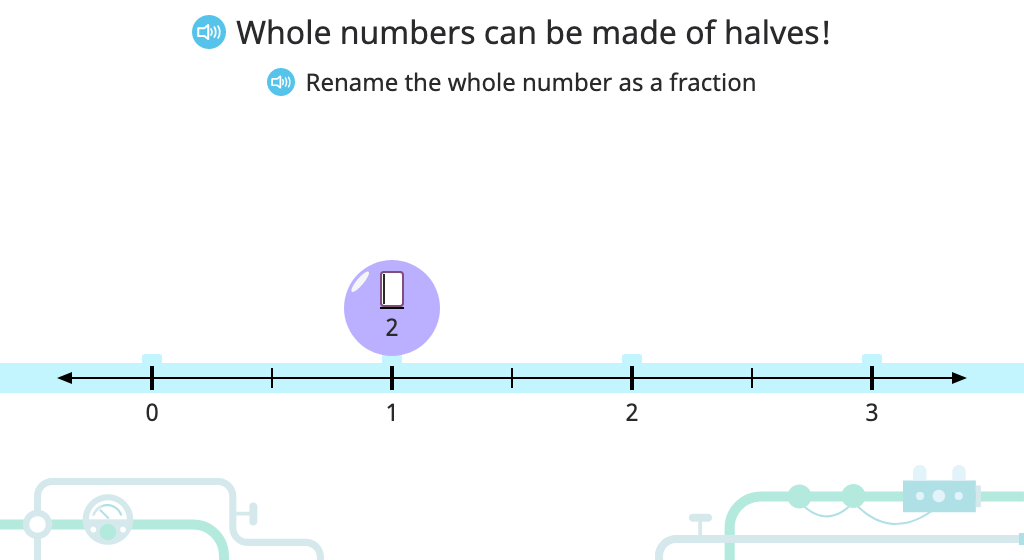 Write whole numbers as fractions (various denominators)