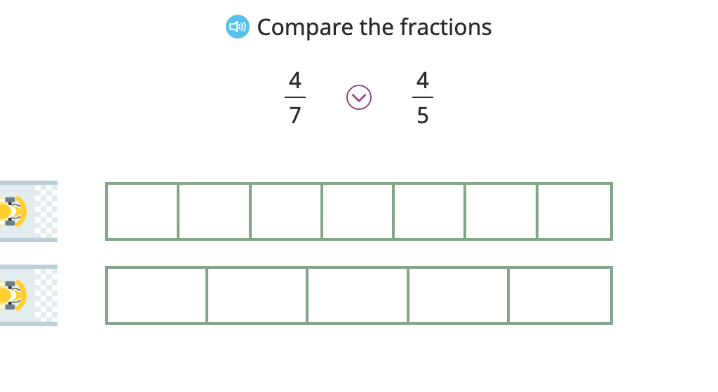 Compare fractions with the same numerator or the same denominator