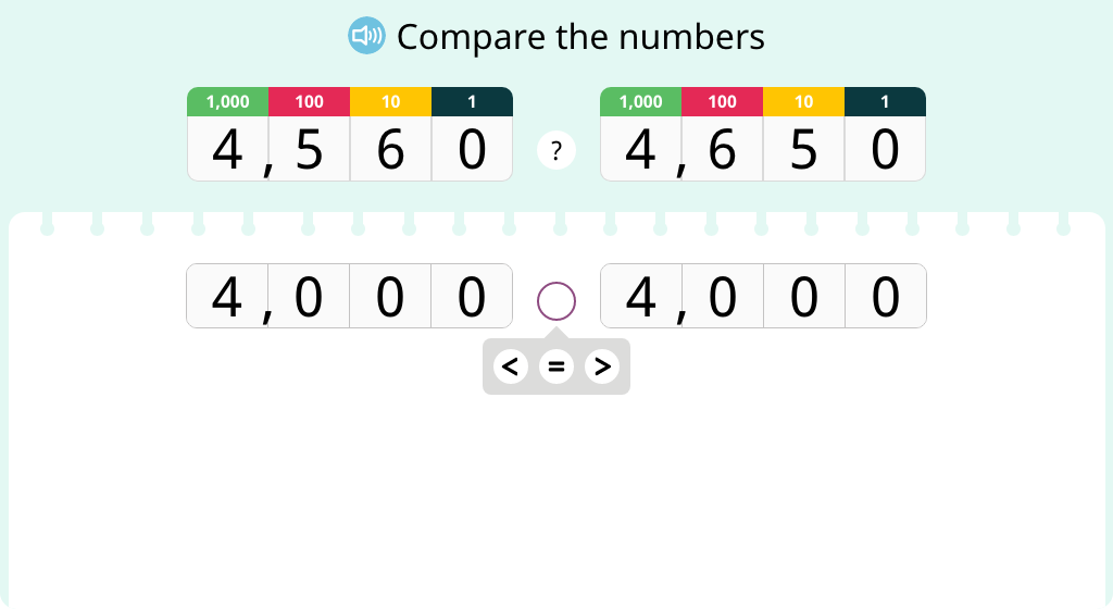 Compare numbers in a place value chart (at a place value other than their highest)