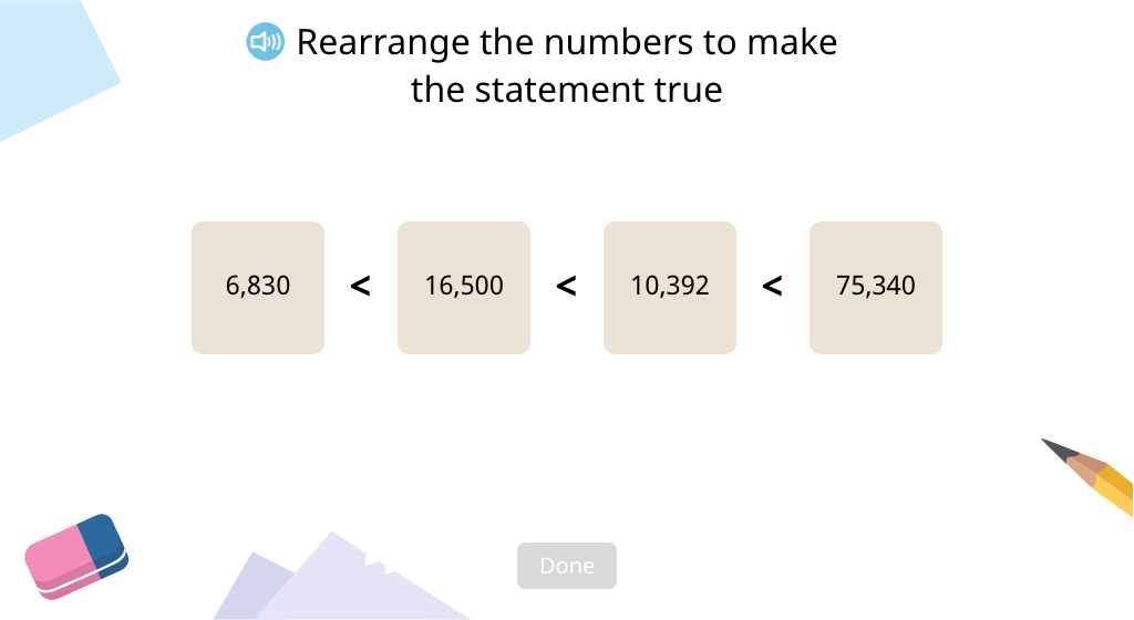 Order numbers in ascending and descending order using < and > (Part 2)
