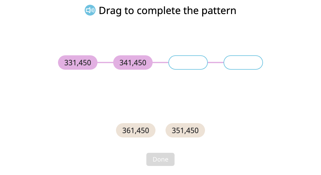 Order numbers in a pattern increasing or decreasing by 1,000 or 10,000 (Level 1)