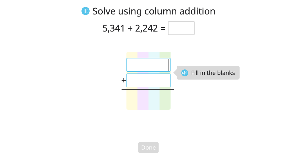 Add two 4-digit numbers with and without regrouping in two places using column addition and a disk model