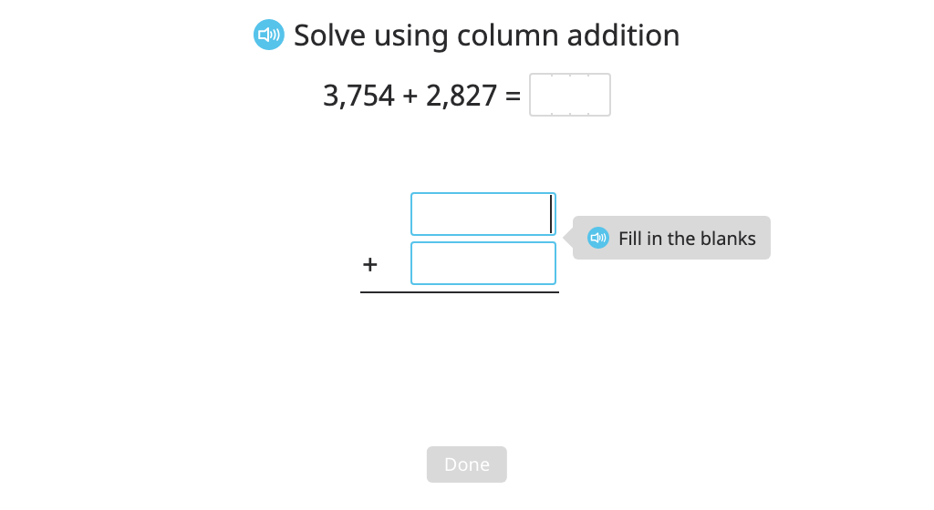 Add multi-digit numbers with regrouping in multiple places using column addition