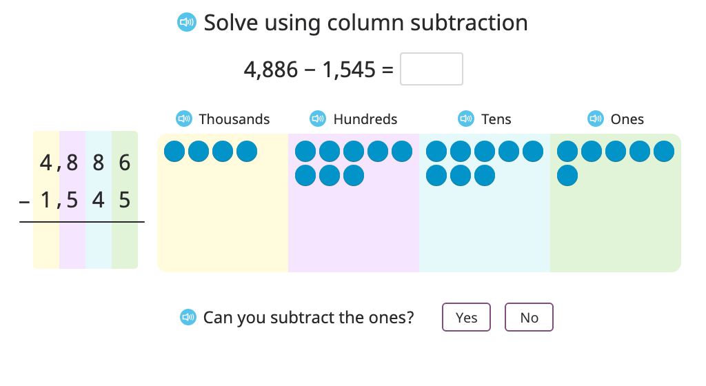 Subtract two 4-digit numbers with and without regrouping in two places using column subtraction and a disk model