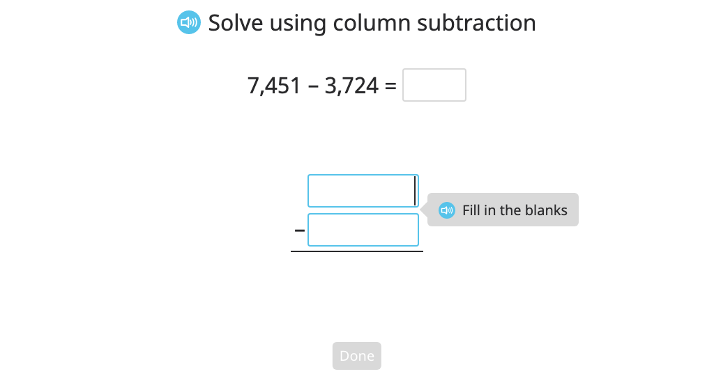 Subtract multi-digit numbers with regrouping in multiple places using column subtraction