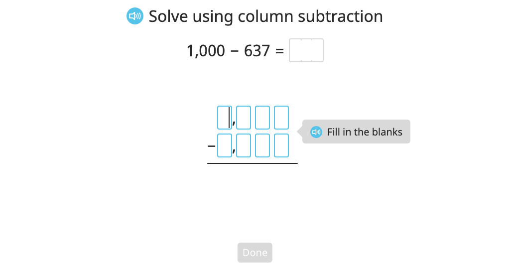 Subtract multi-digit numbers with regrouping across zeros using column subtraction