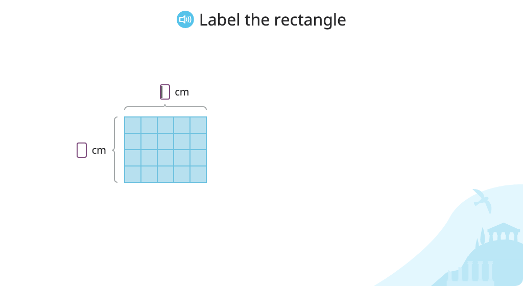 Determine the area of a rectangle by multiplying the lengths of its sides
