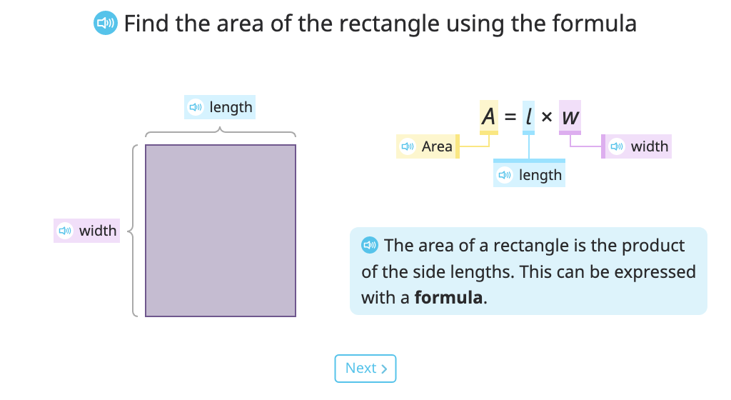 Identify the formula for area of a rectangle and use it to solve a problem