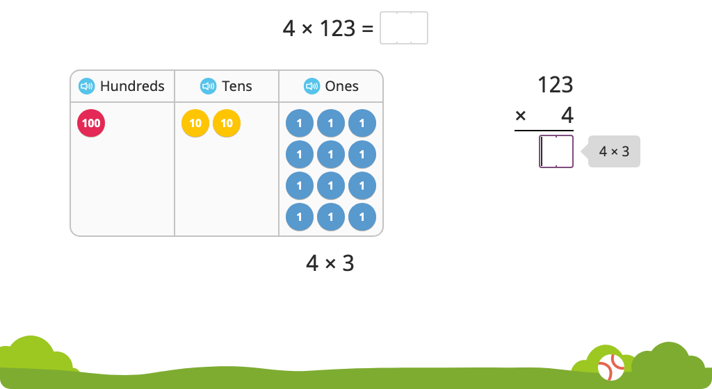 Solve a multiplication equation with regrouping using partial products with and without and a disk model