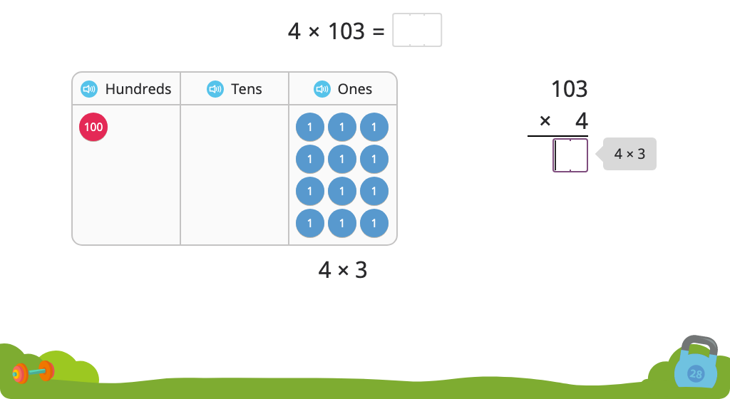 Solve a multiplication equation including a zero using partial products with and without and a disk model