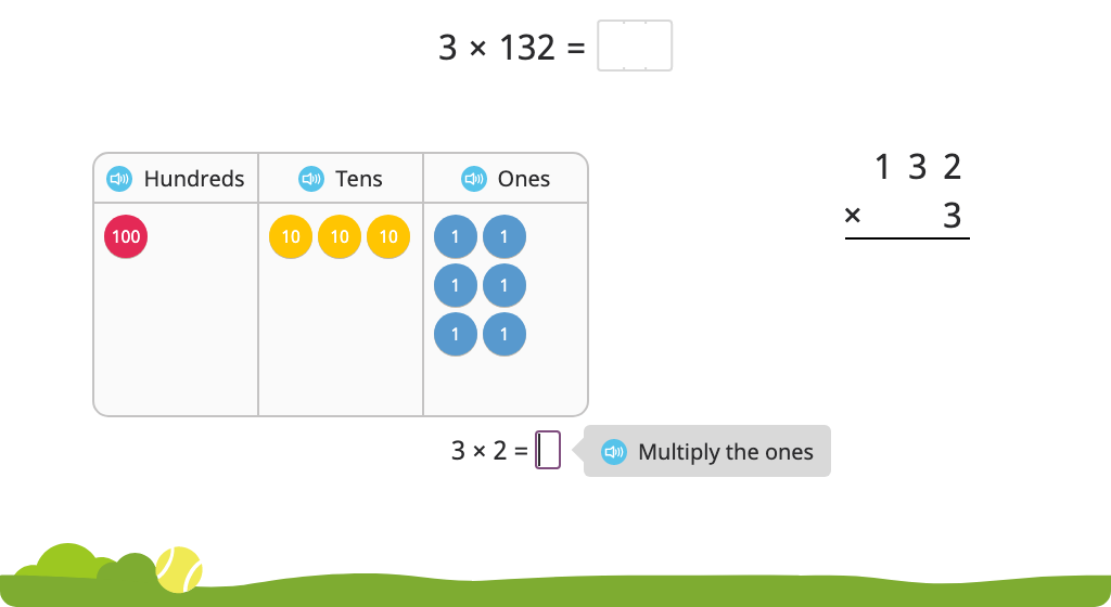 Solve a multiplication equation using the standard algorithm with and without and a disk model