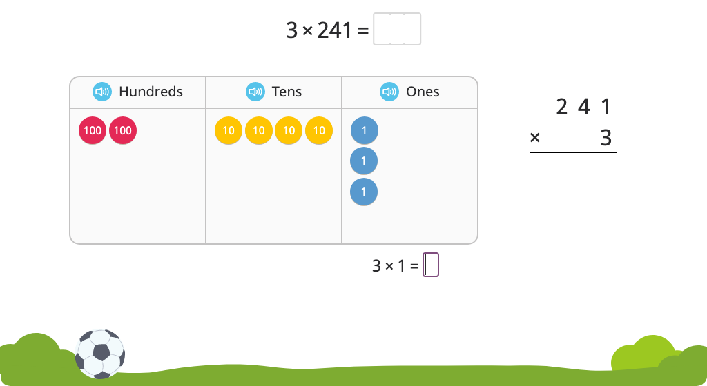 Solve a multiplication equation with regrouping using the standard algorithm using a disk model