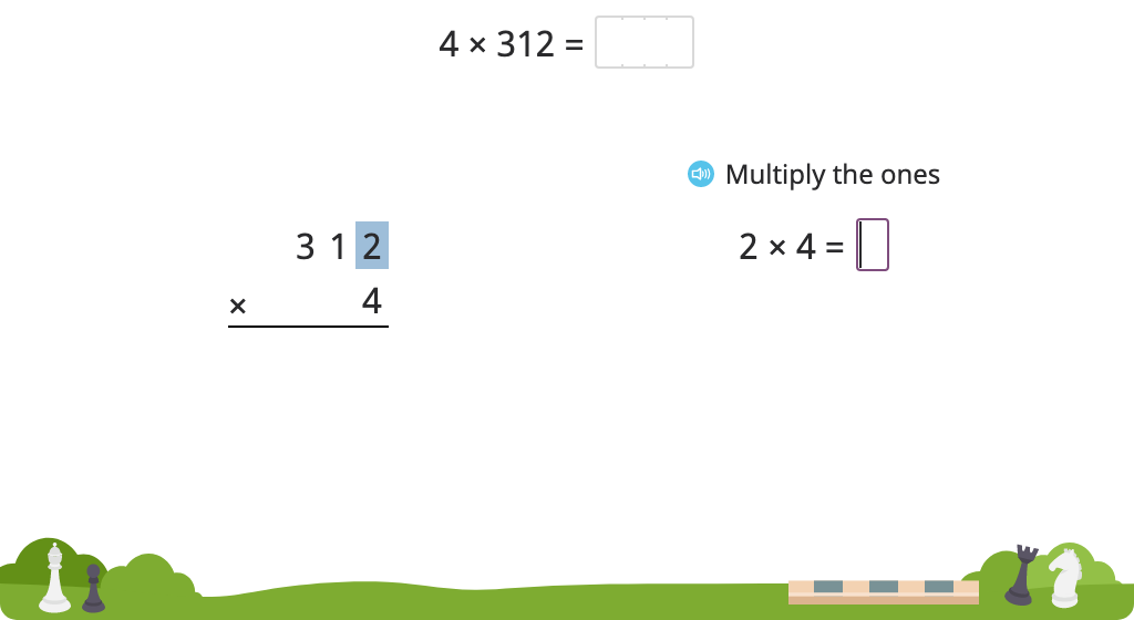 Solve a multiplication equation with regrouping using the standard algorithm (Level 2)