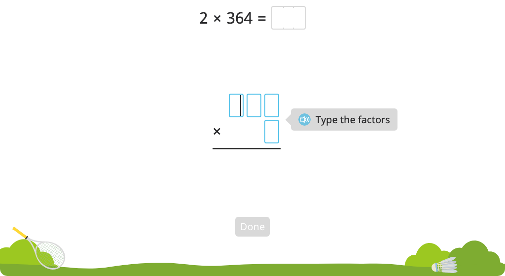 Solve a multiplication equation with regrouping using the standard algorithm (Level 3)