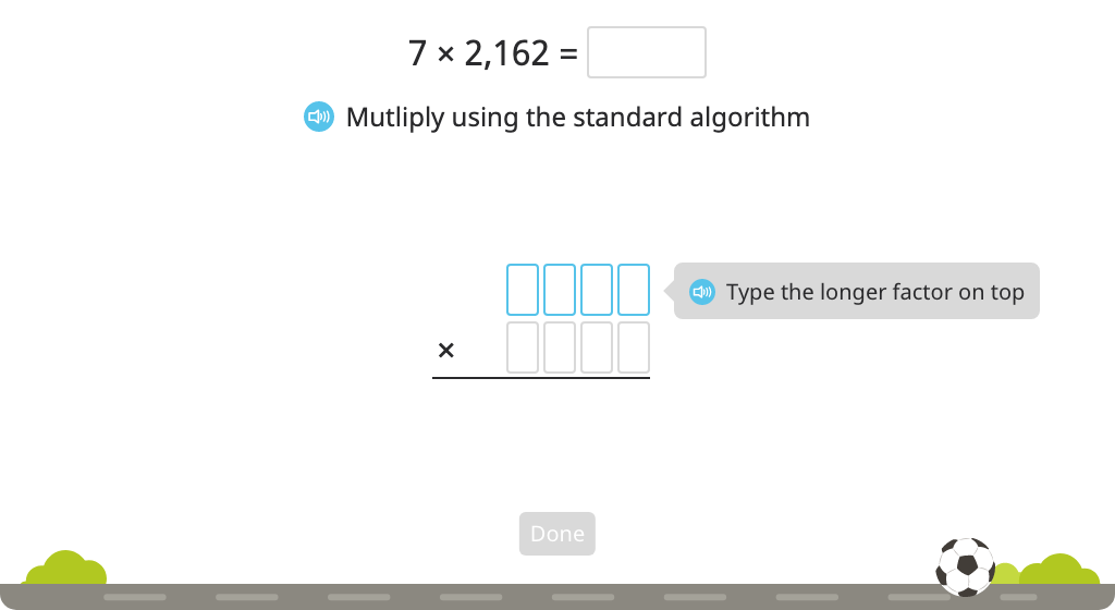 Solve a multiplication equation with regrouping while identifying steps of the standard algorithm