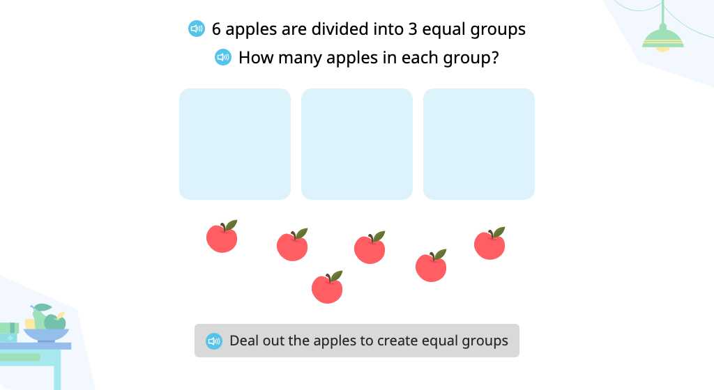 Solve a division problem (number in each group) with a remainder based on a model