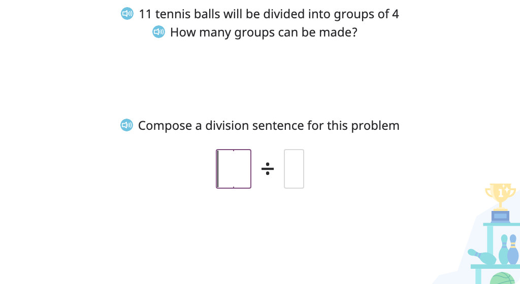 Solve a division problem (number of groups) with a remainder based on a model