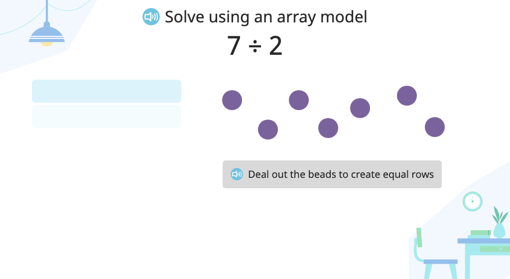 Solve a division problem (number in each group) with a remainder using an array model