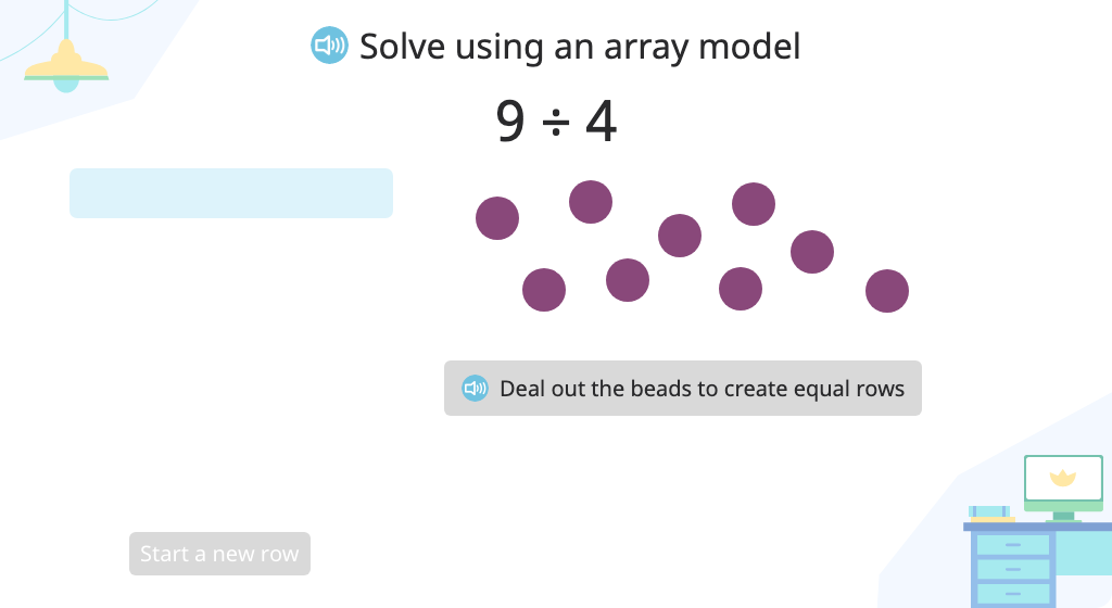 Solve a division problem (number of groups) with a remainder using an array model
