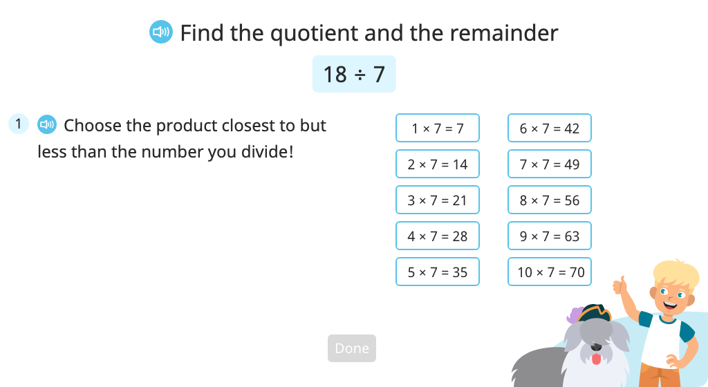 Solve a division problem with a remainder using the closest multiplication fact