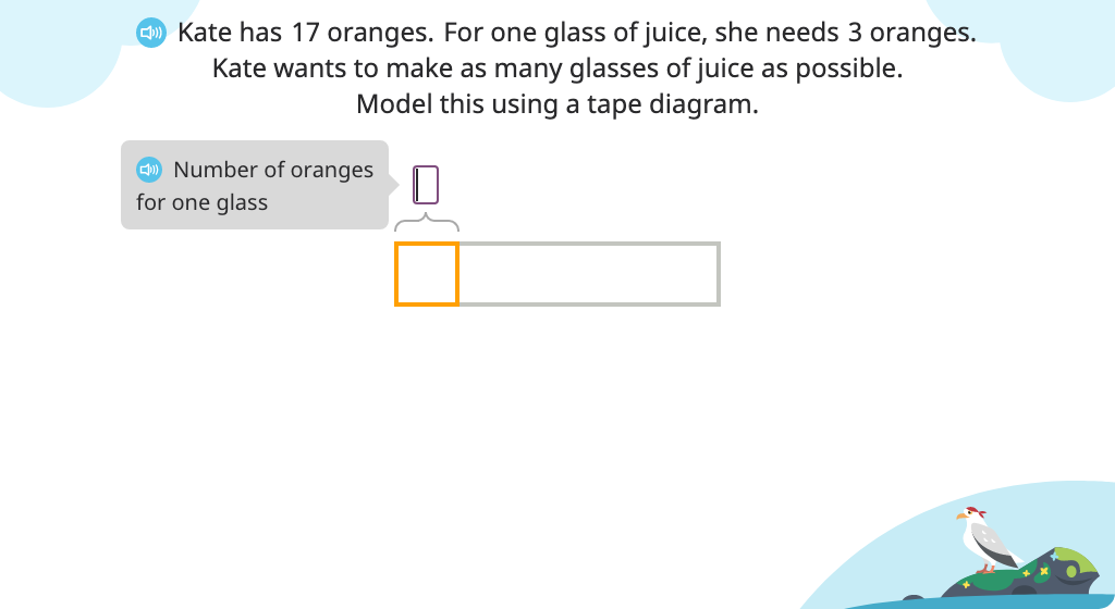 Solve a division word problem (number of groups) with a remainder using a tape diagram and an equation
