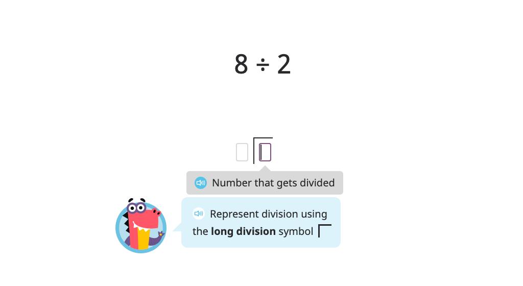 Model and solve a division problem using long division (single-digit quotient)