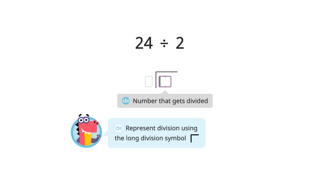Model and solve a division problem using long division (two-digit quotient)