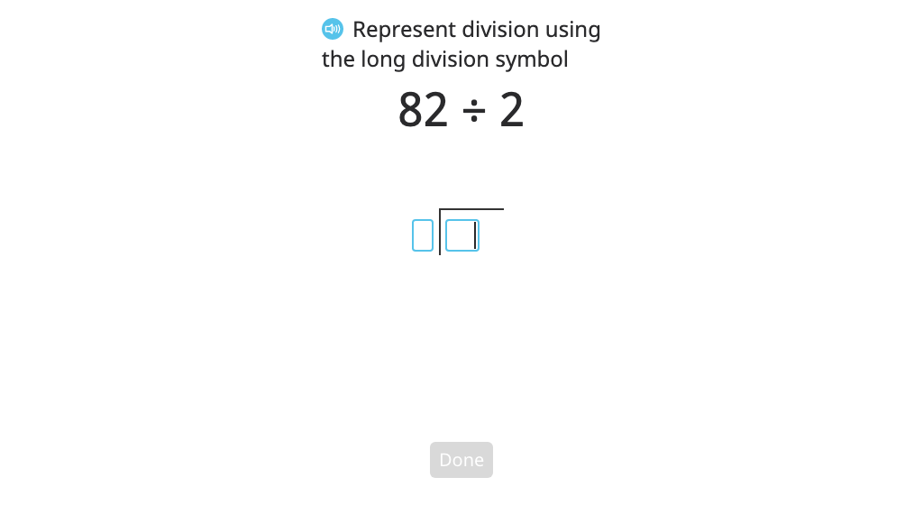 Model and solve a division problem that involves regrouping using long division (two-digit quotient) (Level 2)