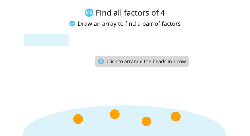 Find factors of a given number by building and labeling arrays