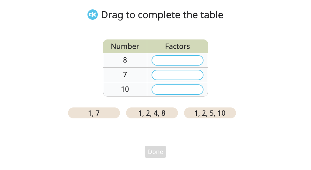 Identify factors or multiples of a list of given numbers