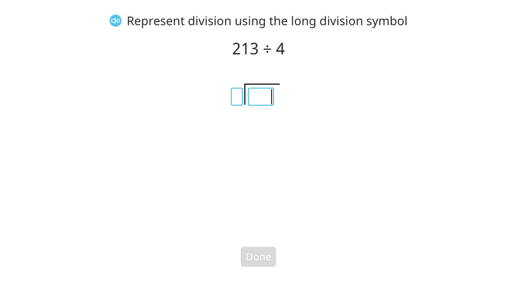 Divide using long division with partial quotients and a disk model