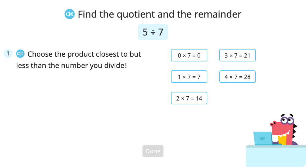 Solve division problems with a quotient of zero (with a remainder) (Level 1)