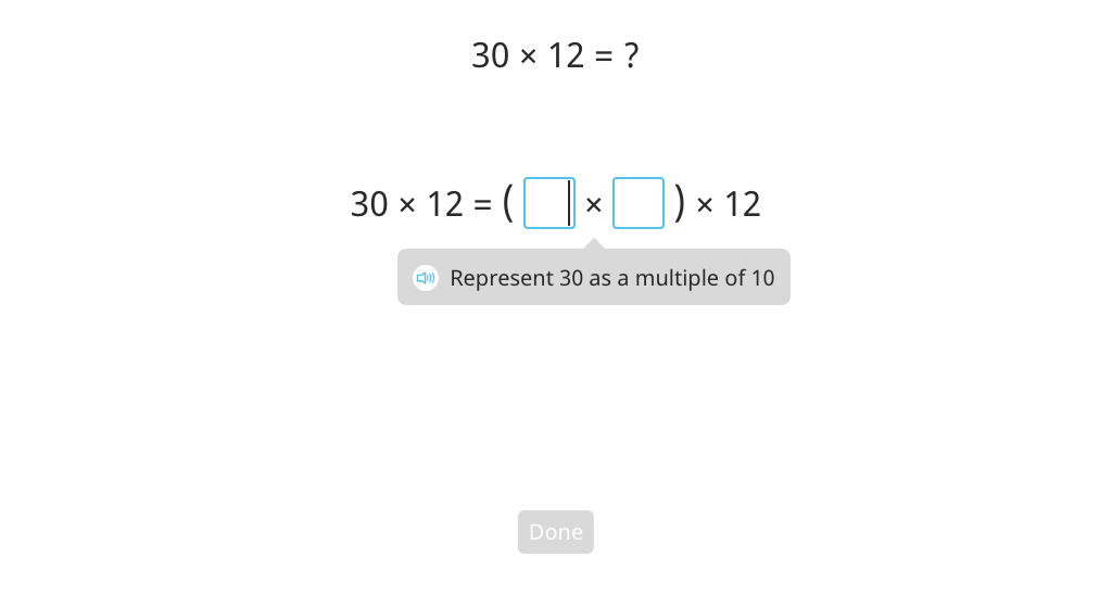 Multiply by splitting a round number into a multiple of 10 and regrouping factors (Level 1)