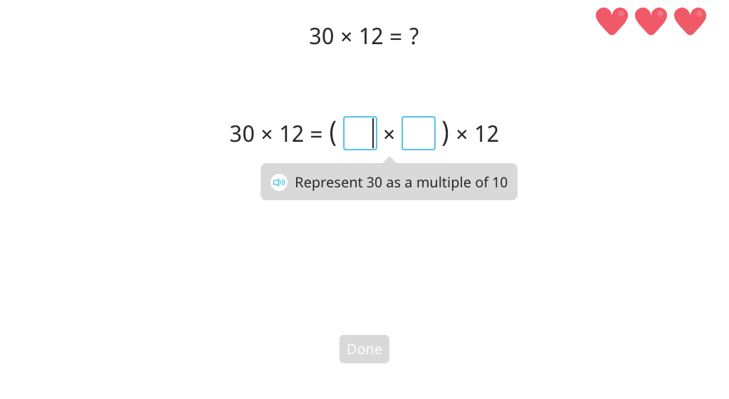Multiply by splitting a round number into a multiple of 10 and regrouping factors (Level 2)