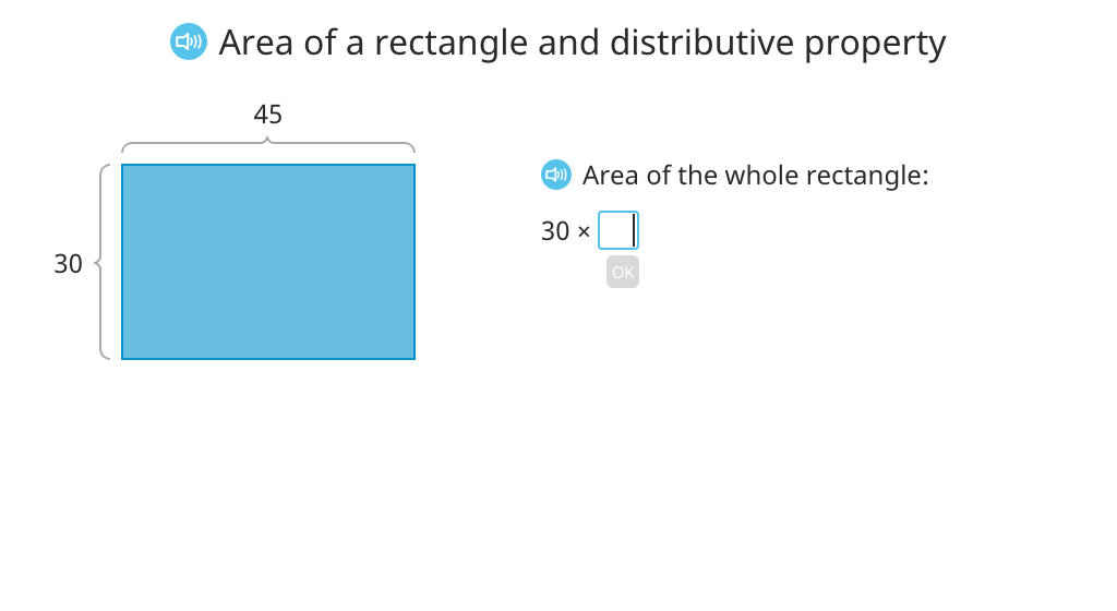 Rewrite an area model multiplication equation using the distributive property