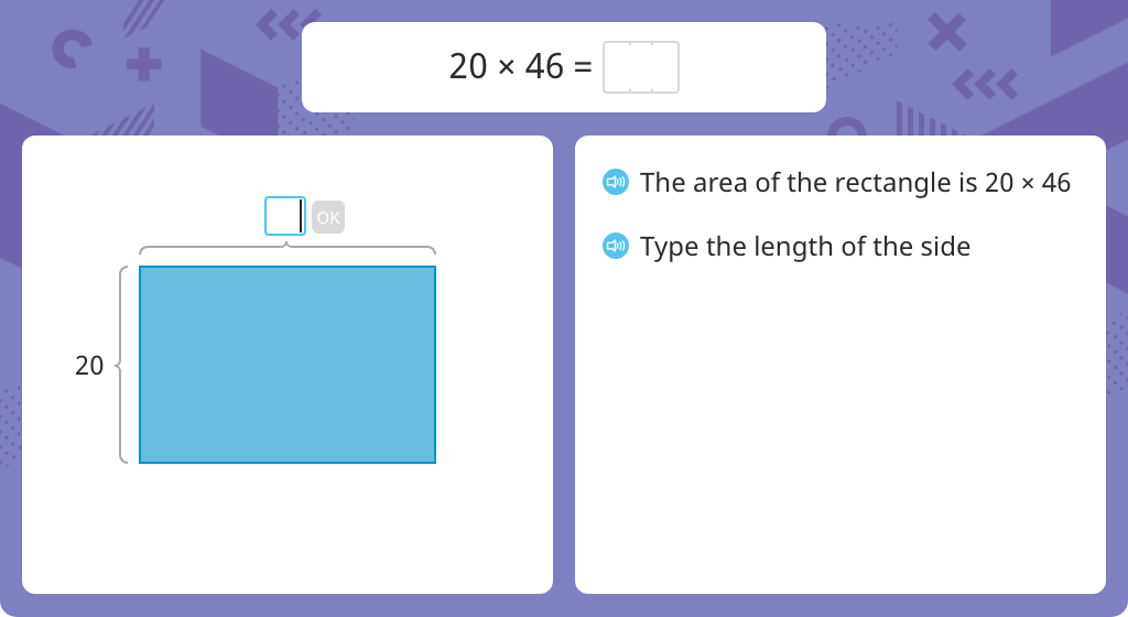 Multiply to find the area of a rectangle using the distributive property