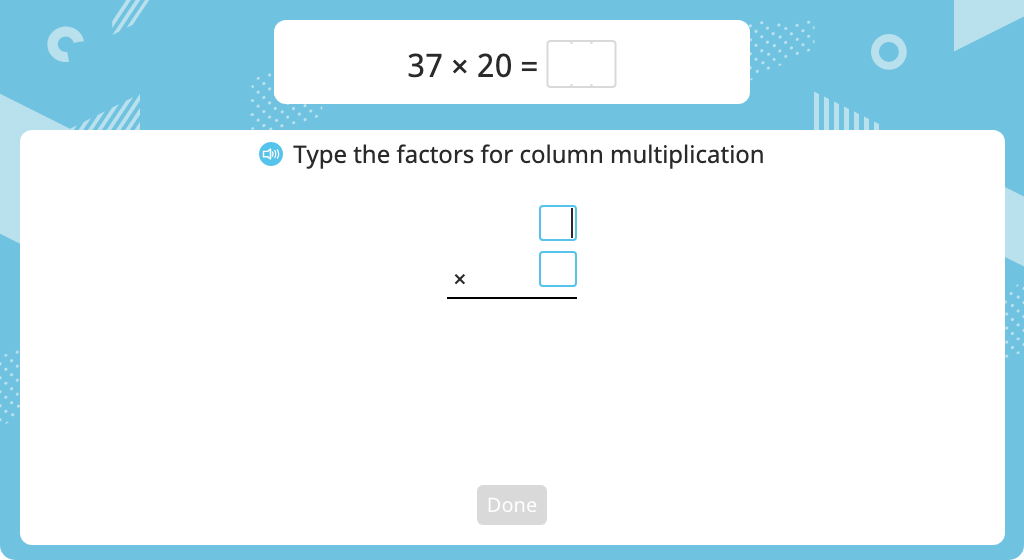 Multiply using the standard algorithm with regrouping (one round number)