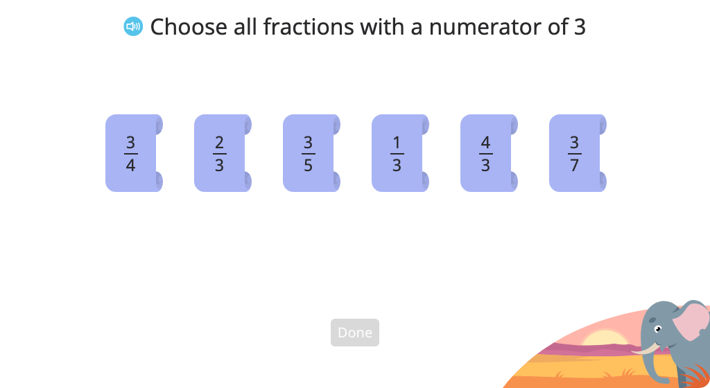 Identify fractions with a given numerator or denominator