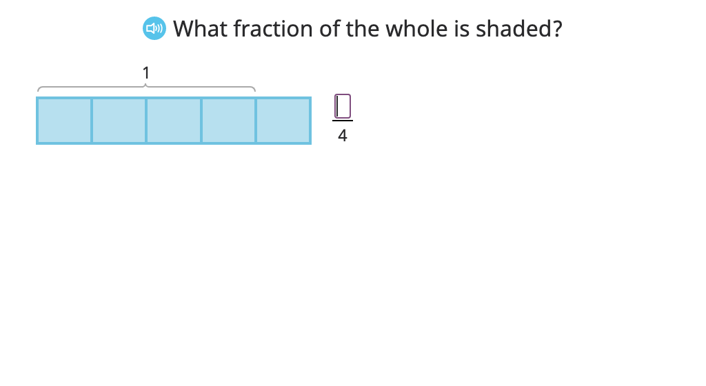 Model a fraction as the sum of its parts and record this as an equation (fractions greater than one)
